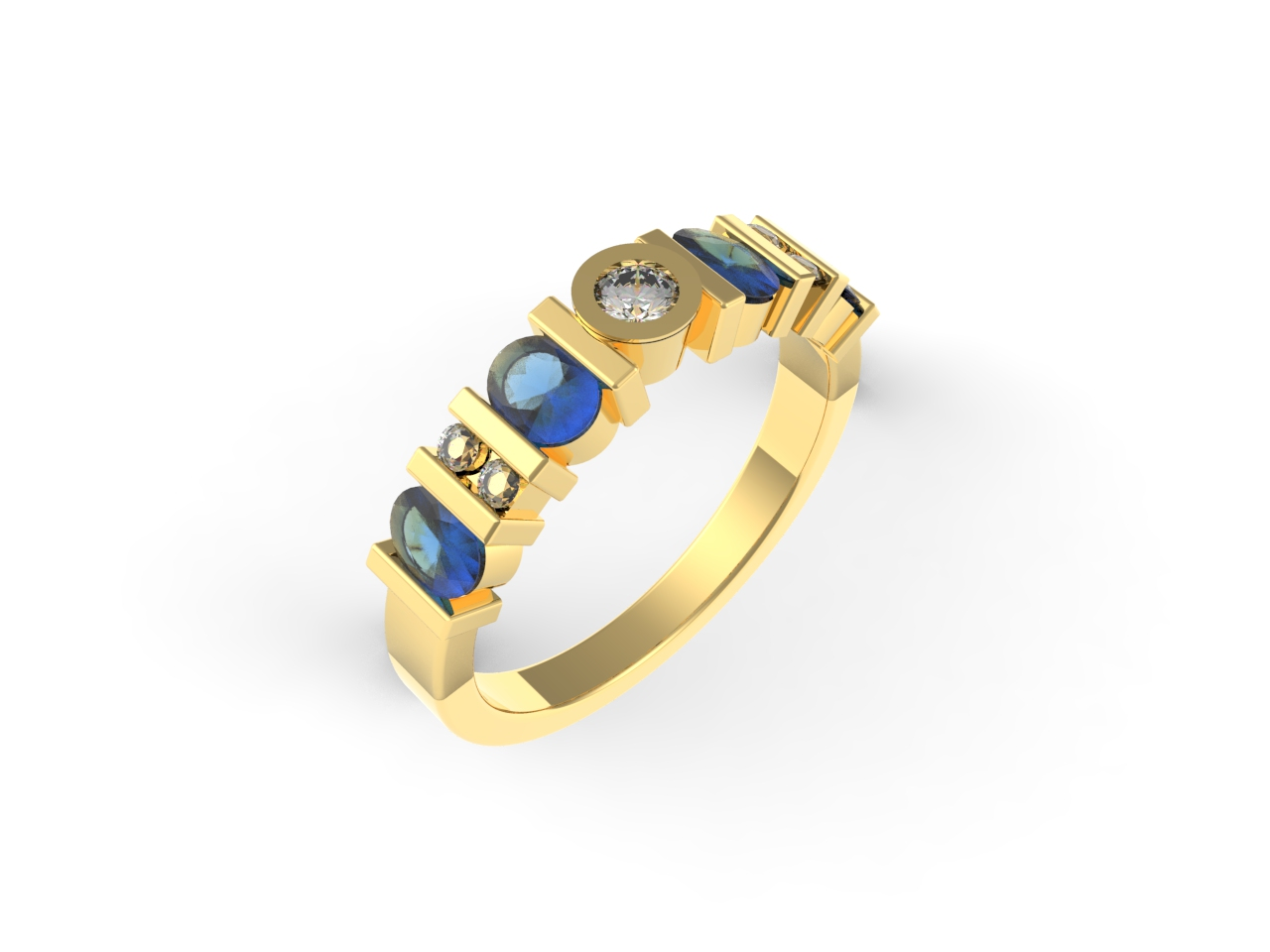 Bespoke Jewellery Design | Aberdeen | 9ct Yellow Gold Sapphire and Diamond Eternity Ring.