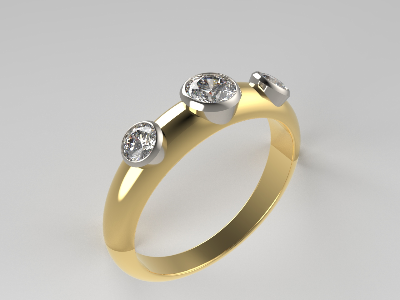 Bespoke Jewellery Design | Aberdeen | 18ct yellow gold and platinum rub over set 3 stone diamond ring