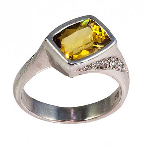 Citrine + Diamond Cocktail Ring