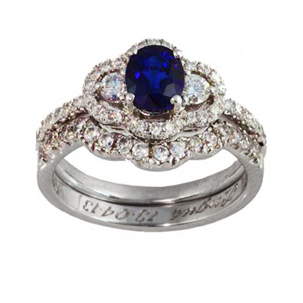 Sapphire and Diamond Engagment & Fitted Wedding Band Set