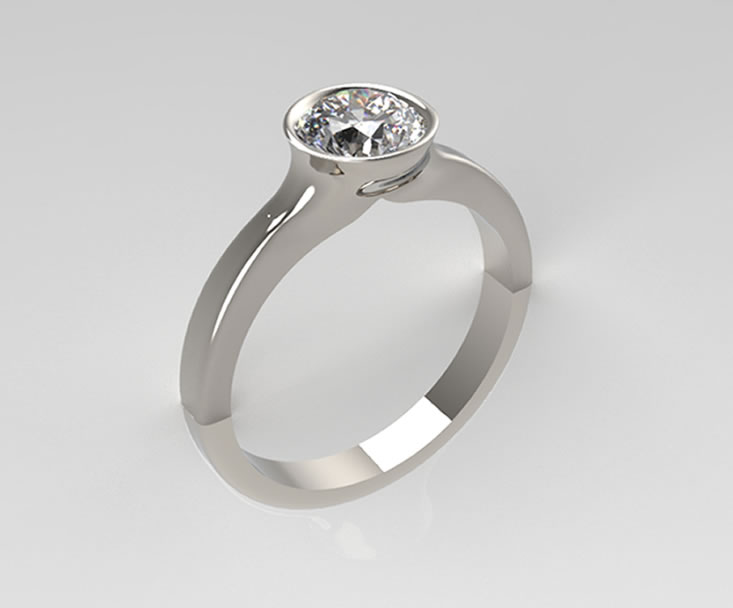 Bespoke Jewellery Design | Aberdeen | PLATINUM AND DIAMOND SINGLE STONE RING.