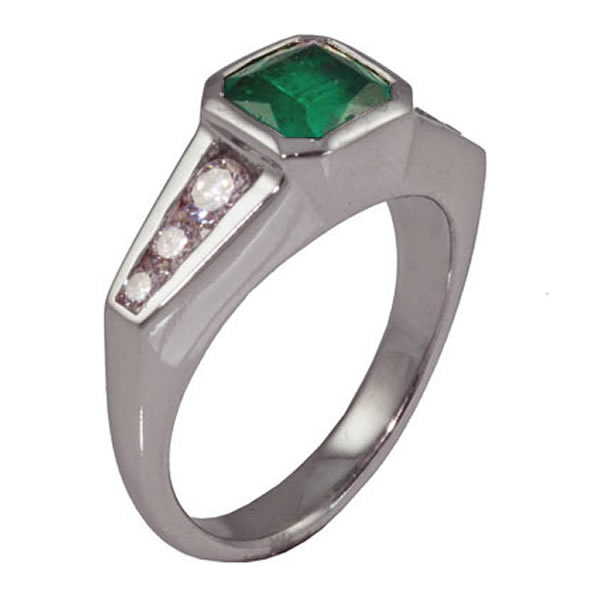 Platinum Emerald & Diamond Deco Engagement Ring
