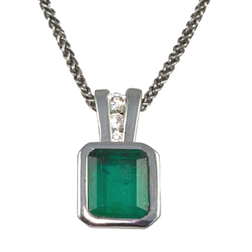 Platinum Emerald & Diamond Deco Pendant