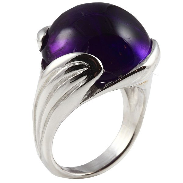 Silver and amethyst dress ring bespoke jewellery design Aberdeen