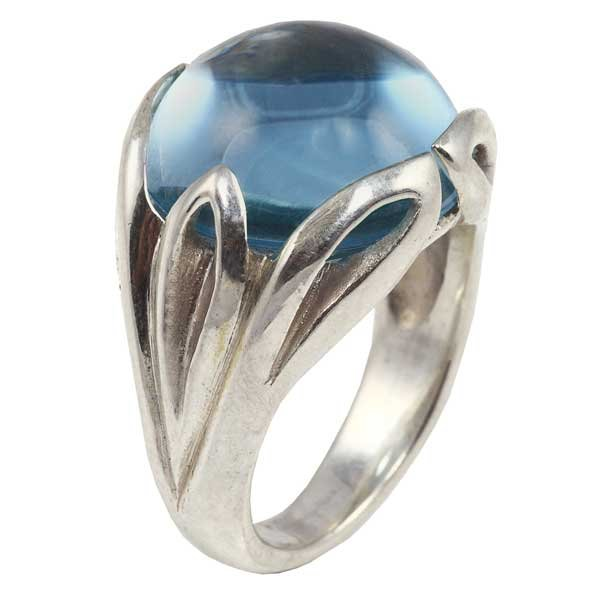Silver and blue topaz Acanthus dress ring bespoke jewellery design Aberdeen