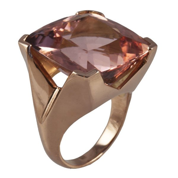 18ct red gold and Morganite ring bespoke jewellery design Aberdeen