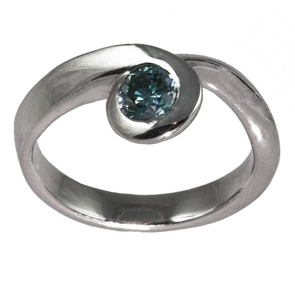 Platinum blue diamond engagement ring