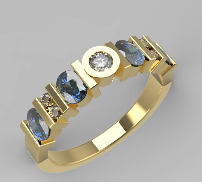 9ct Yellow Gold Sapphire and Diamond Eternity Ring