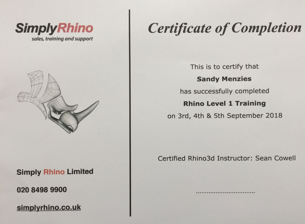 bespoke jewellery design Aberdeen Rhino level 1 training course taught by Sean Cowell from Simply Rhino