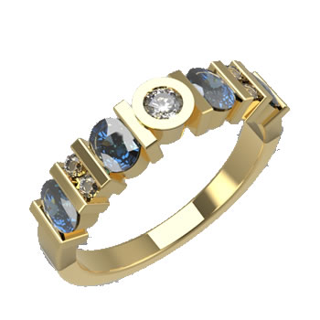 Diamond + Saphire Gold Ring