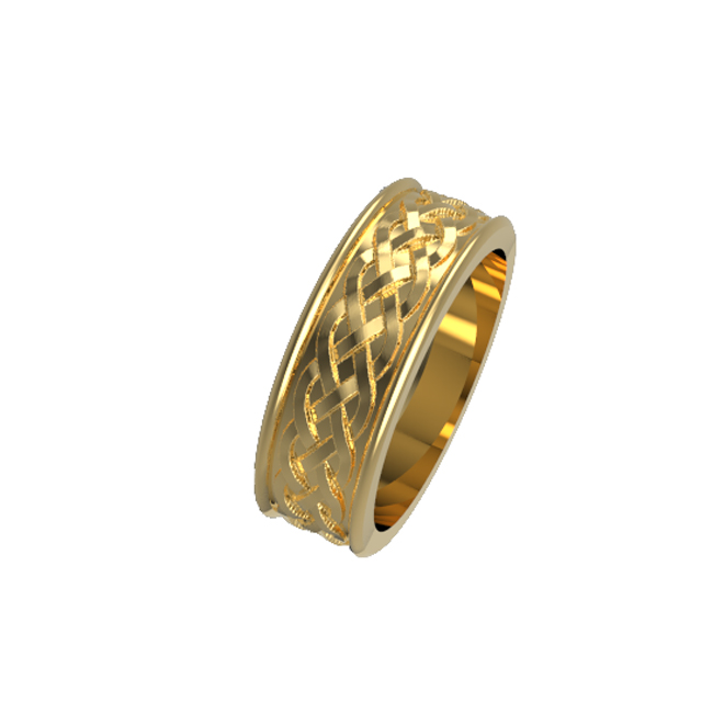 Celtic 3 row interlacing wedding ring