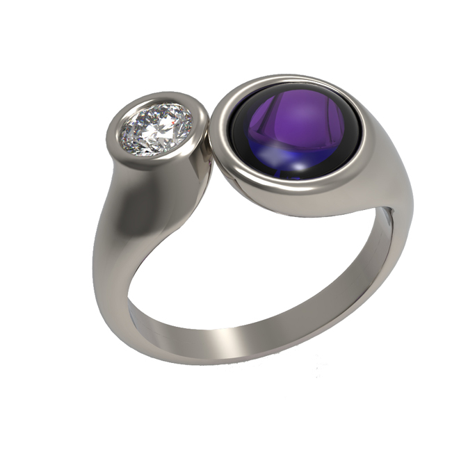 Amethyst and diamond 2 stone ring