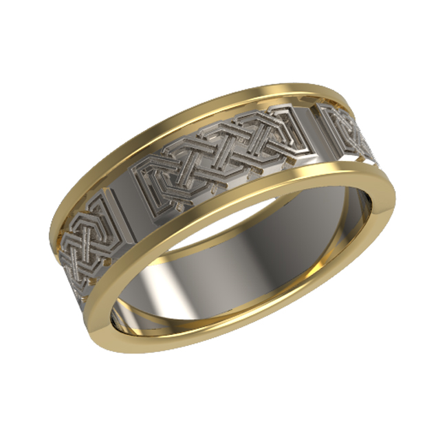 Celtic octagonal patterned panelled wedding ring