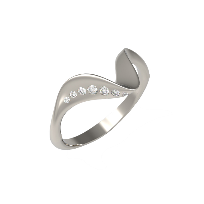 Diamond set abstract twist ring