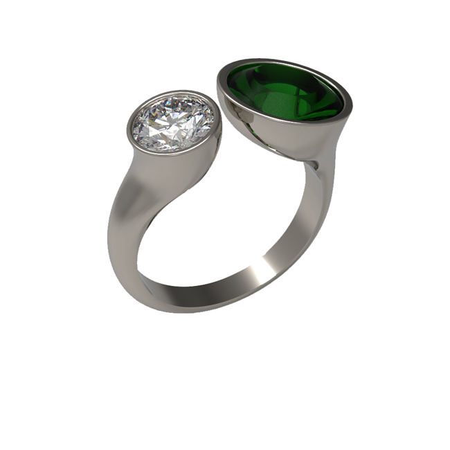 emerald and diamond 2 stone ring