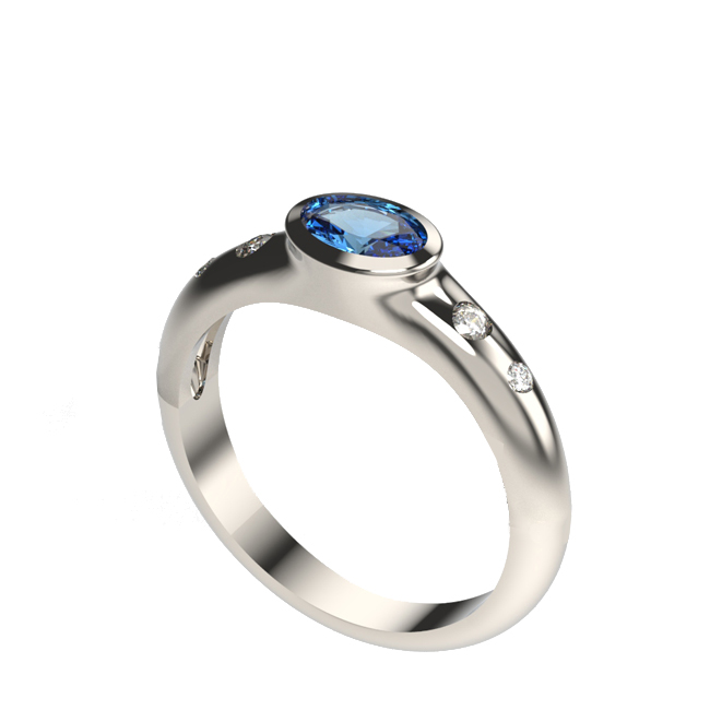 Rub over sapphire and diamond 3 stone ring