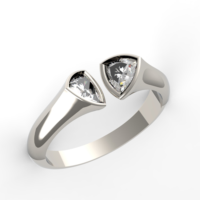 Trillion diamond 2 stone ring